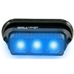Surface Mount Warning Light, 12V, 3-LED, Black Collar, BLUE