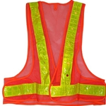 Reflective Safety Vest with Flashing Red LED Lights, Orange