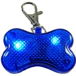 Clip on Flashing LED Dog Bone Light, BLUE, Set of 8