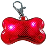 Clip On Flashing LED Dog Bone Light, RED, Set of 8