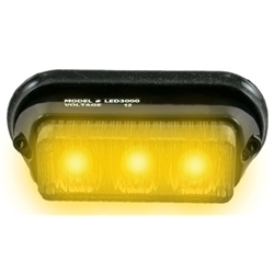 Surface Mount Warning Light, 12V, 3-LED, Black Collar, AMBER