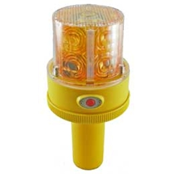 Flashing LED Safety Light with Handle, Battery Operated, Photocell, AMBER